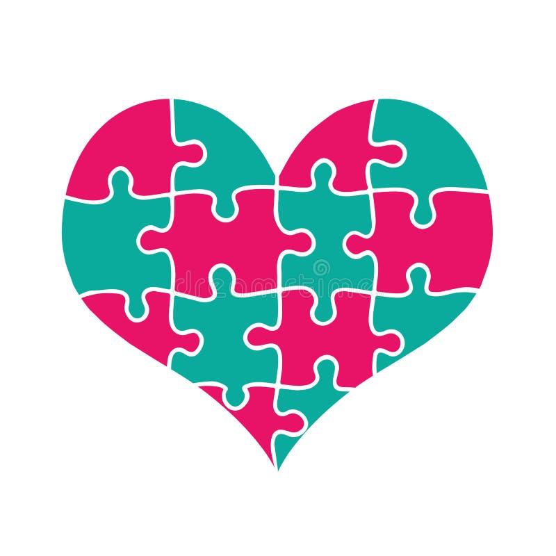 Coeur coloré fait de rose et morceaux verts de puzzle illustration libre de droits