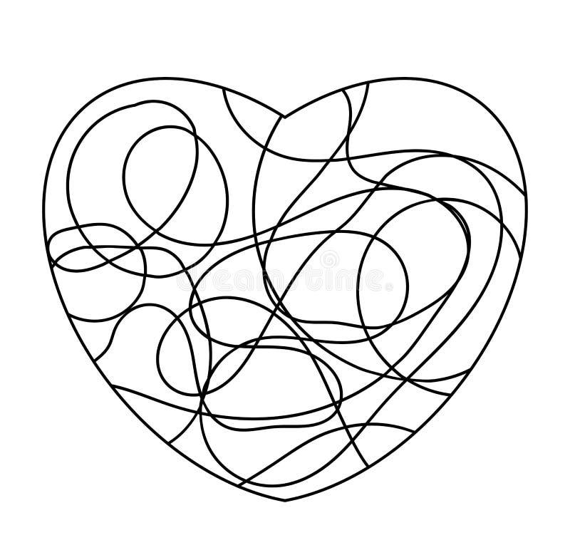 Coeur comme l'icône de mosaïque de forme ou logo d'isolement sur le blanc illustration libre de droits