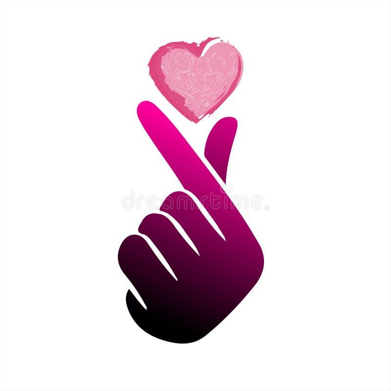 """Coeur coréen """"je t'aime """"illustration de doigt de vecteur du Hangeul Coeur cor?en de main de symbole, un message de geste de main illustration de vecteur"""