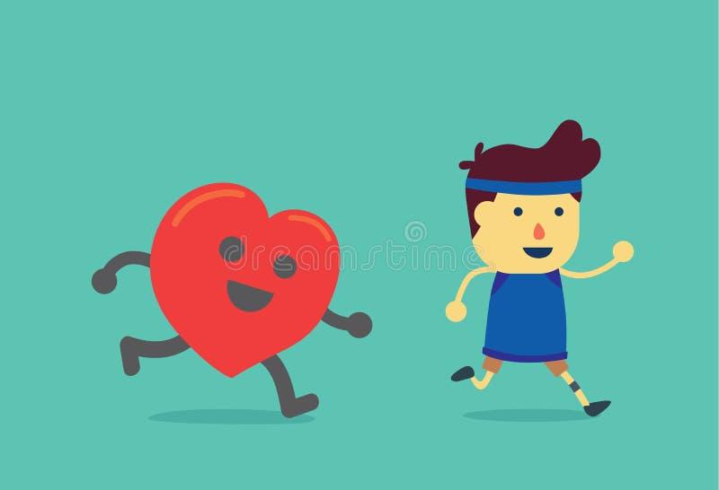 Coeur couru après homme en bonne santé illustration libre de droits