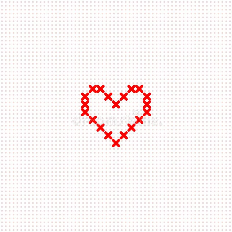 Coeur croisé mignon simple rouge de point sur le calibre blanc de carte de toile, vecteur illustration de vecteur