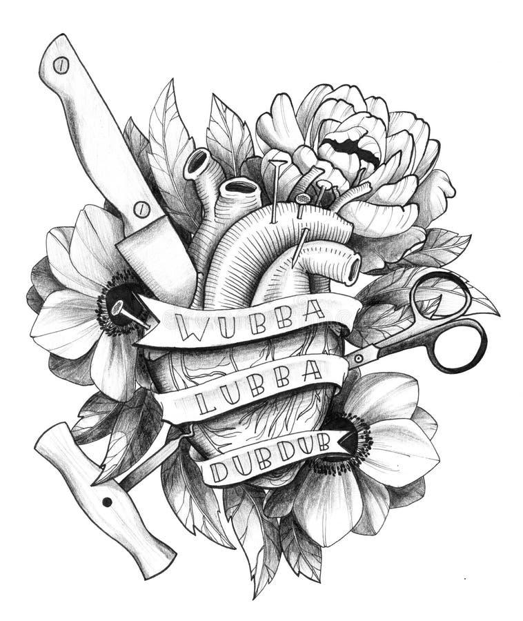 Coeur détaillé à l'encre noire de Hurted de tatouage en composition florale illustration de vecteur