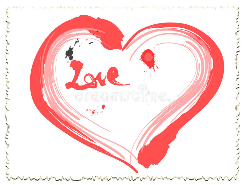 Coeur d'amour d'encre de Valentine illustration stock