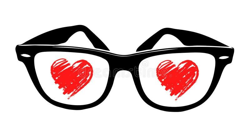 Coeur d'amour dans les sunglass illustration de vecteur