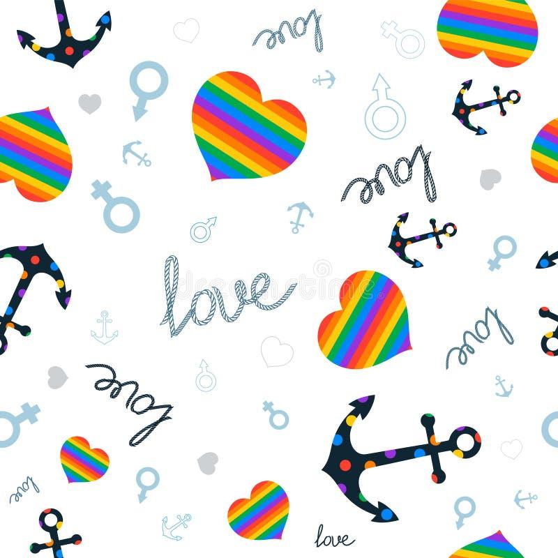 Coeur d'amour de symbole et lgbt d'ancre images stock