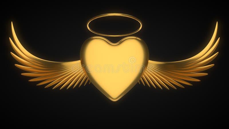 Coeur d'or angélique pour le jour de valentine illustration 3D illustration de vecteur