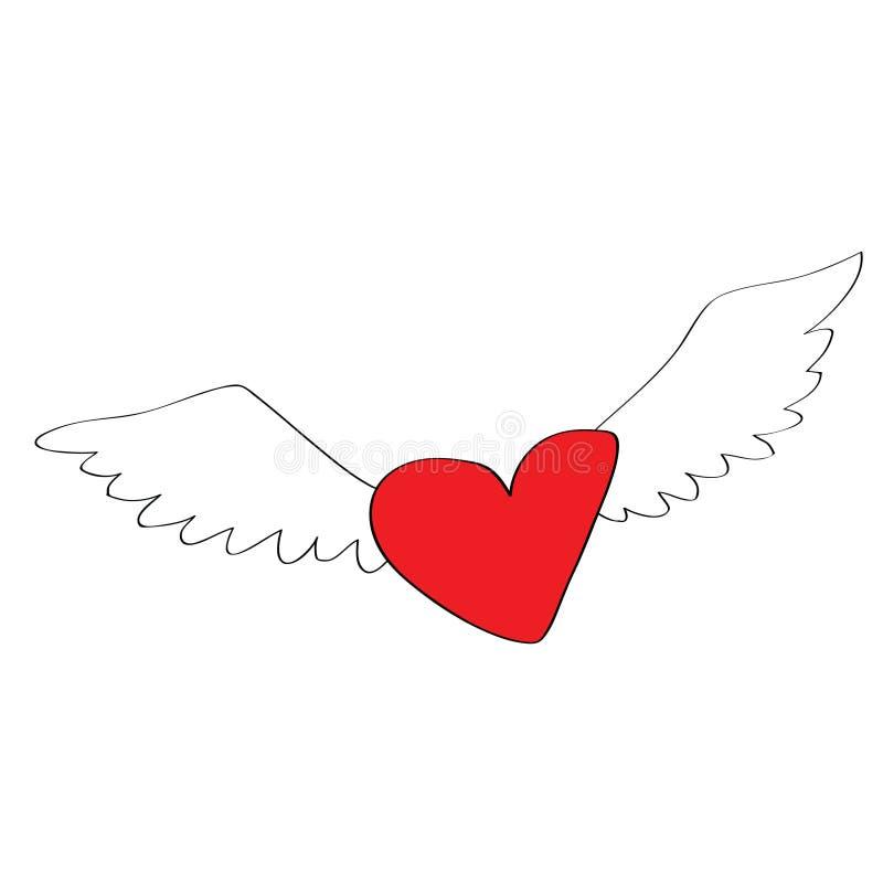 Coeur d'ange avec des ailes illustration stock