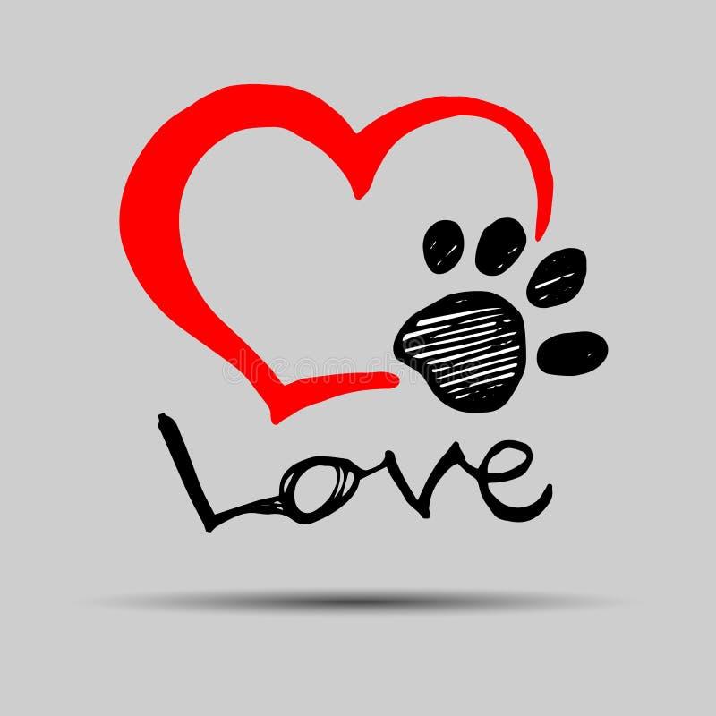 Coeur d'animal de compagnie d'illustration de forme de pied de patte d'impression d'empreinte de pas de chien illustration libre de droits