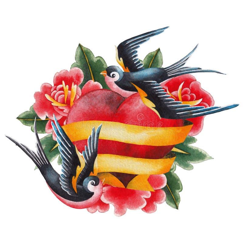Coeur d'aquarelle avec des fleurs, des rubans et des hirondelles illustration de vecteur