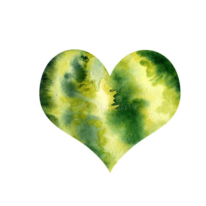 Coeur d'aquarelle avec l'image d'une pastèque Pulpe et graines juteuses pour la conception d'impression, bannière, affiche, couve image stock