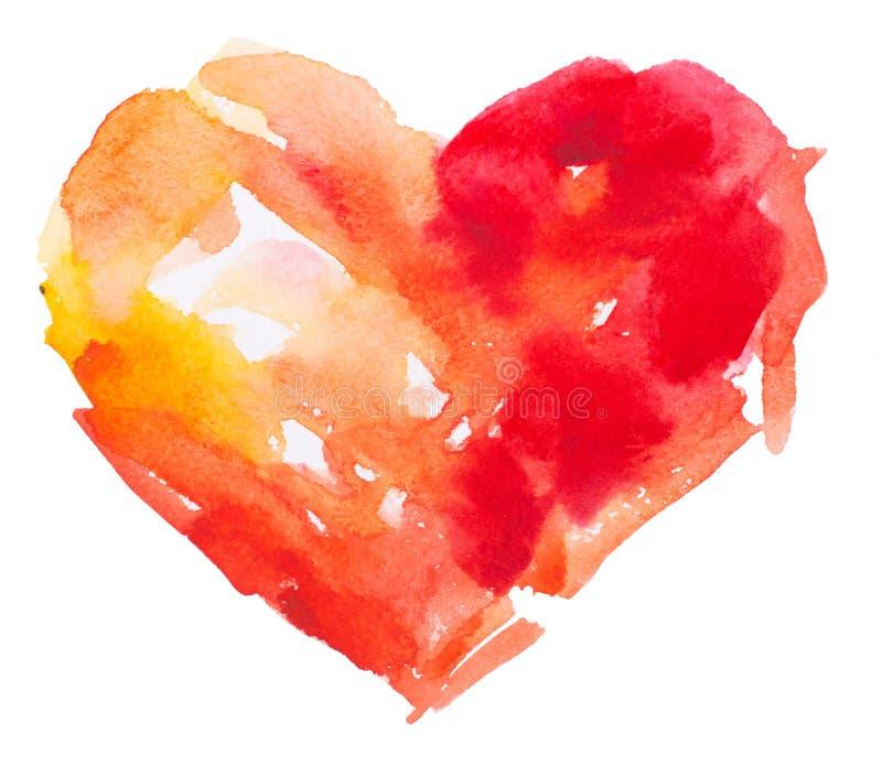 Coeur d'aquarelle. Concept - amour, relations, illustration de vecteur