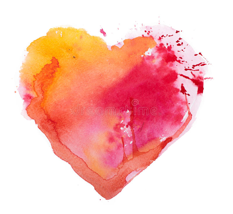 Coeur d'aquarelle. Concept - amour, relations, art, peignant illustration libre de droits