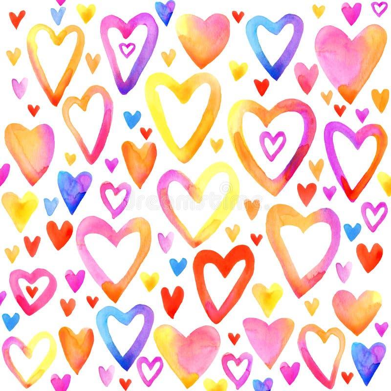 Coeur d'aquarelle de jour de valentines Ensemble de coeur d'arc-en-ciel illustration de vecteur