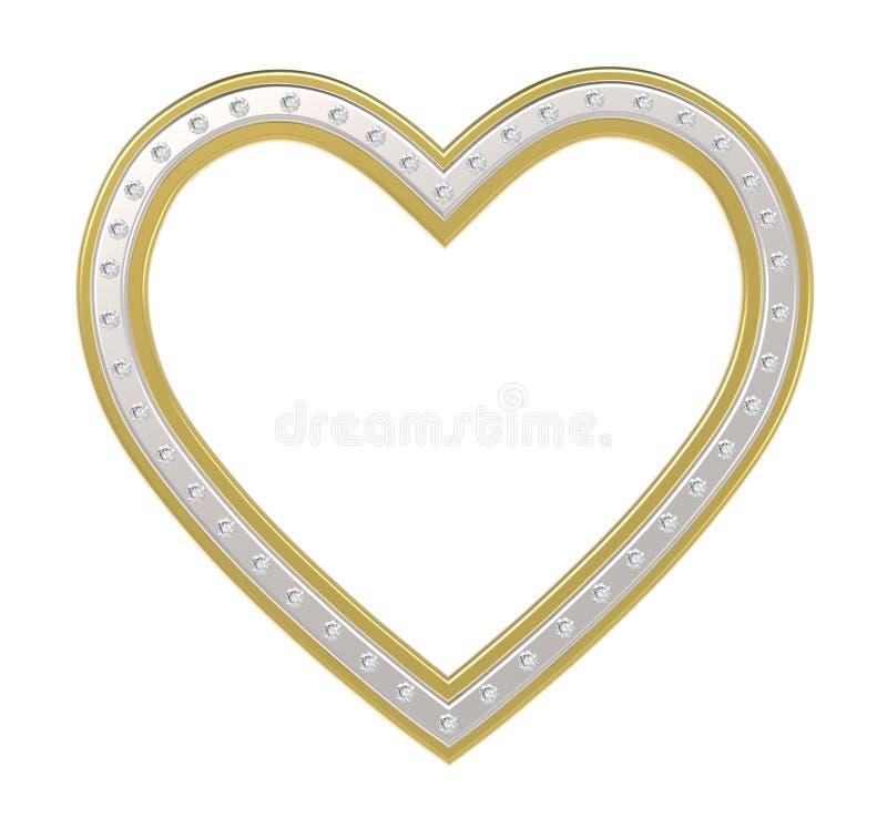 coeur d'Argent-or avec le cadre de tableau de diamants illustration de vecteur