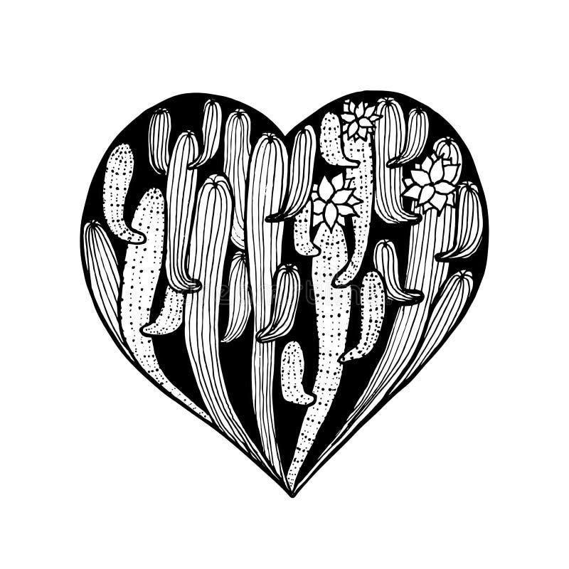 Coeur d'aube de main de vecteur de cactus Cactus colorant le livre de page illustration libre de droits