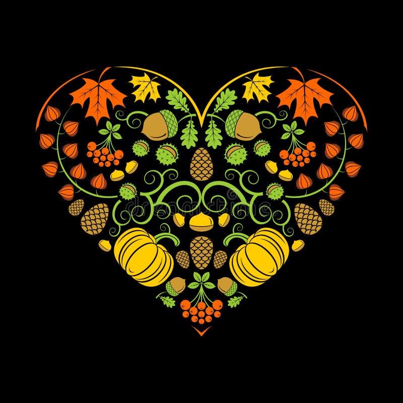 Coeur d'automne Illustration de vecteur image stock