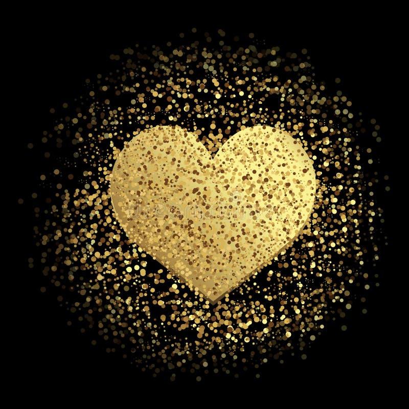 Coeur d'or avec des étincelles sur le fond noir Vecteur illustration de vecteur