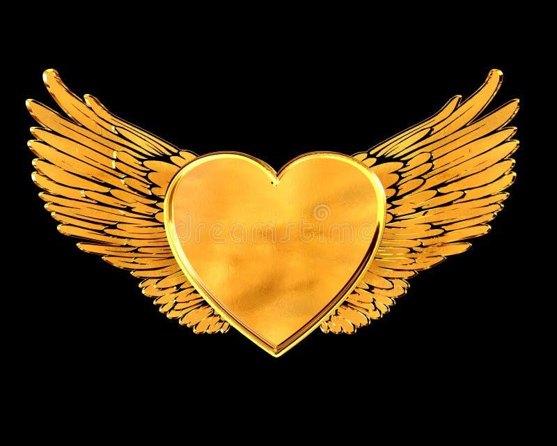 Coeur d'or avec des ailes sur un fond noir illustration libre de droits