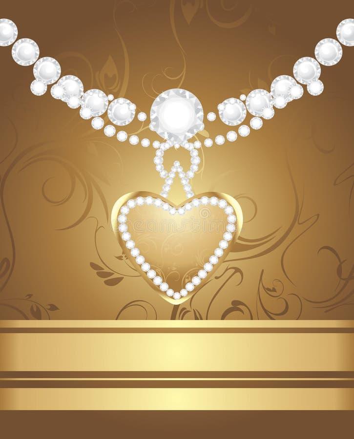 Coeur d'or avec des diamants et des strasses illustration de vecteur