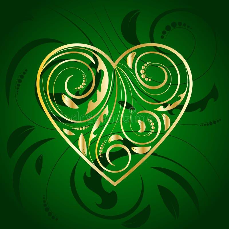 Coeur d'or avec l'ornement en vert illustration stock