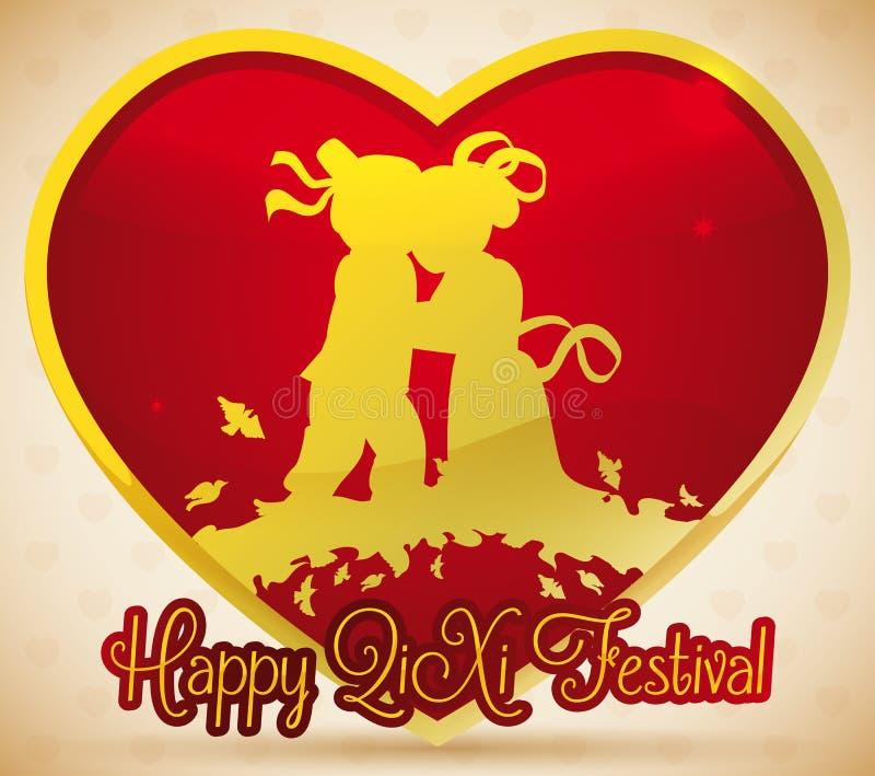 Coeur d'or avec la silhouette de couples célébrant le festival de Qixi, illustration de vecteur illustration de vecteur