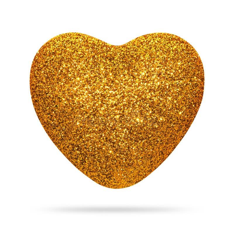 Coeur d'or avec la texture de scintillement d'isolement sur le fond blanc Forme de coeur photo stock