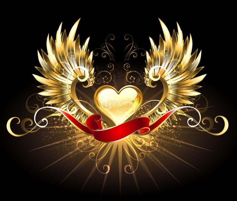 Coeur d'or avec les ailes d'or illustration stock