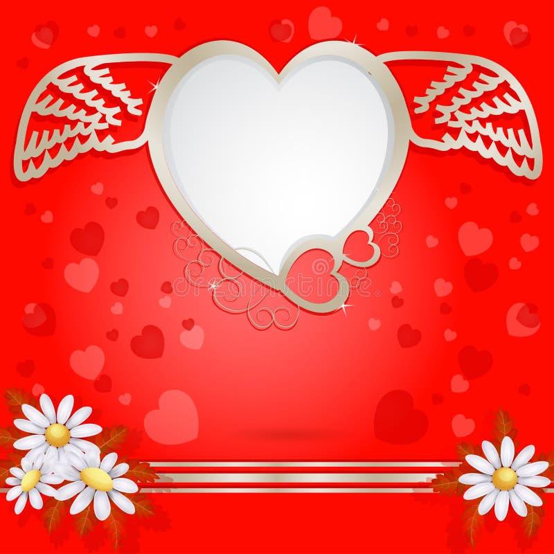 Coeur d'or avec les ailes et la fleur illustration stock