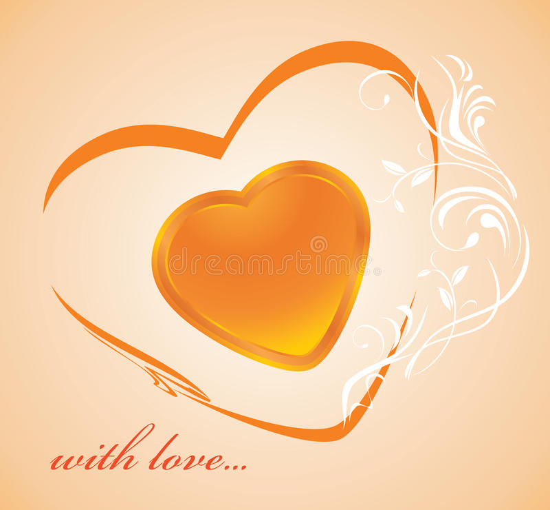 Coeur d'or brillant. Fond illustration stock