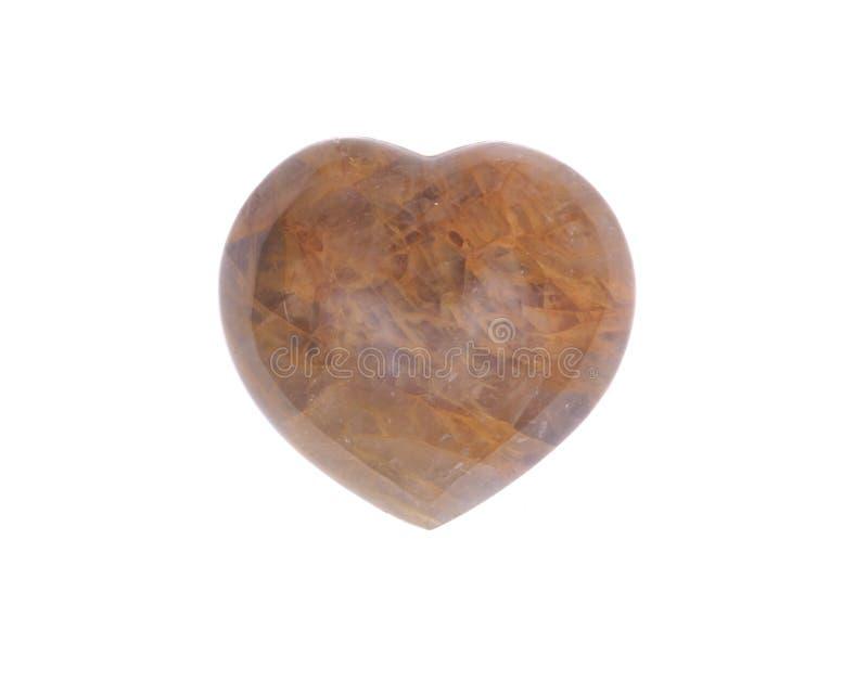 Coeur d'or de quartz de guérisseur photographie stock