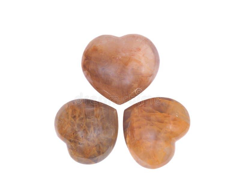 Coeur d'or de quartz de guérisseur photo stock
