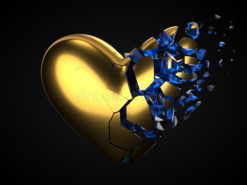 Coeur d'or de rupture et de dissolution avec l'intérieur cyrstal bleu pour le jour de valentine illustration 3D illustration stock