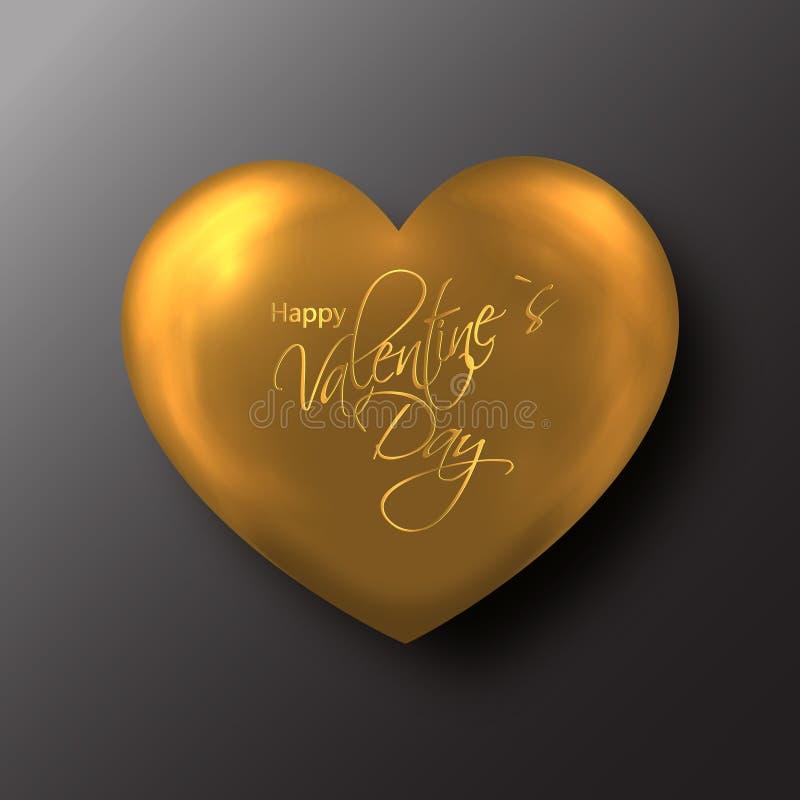 Coeur d'or de Saint-Valentin sur le fond noir illustration de vecteur