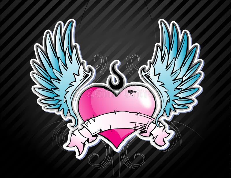 Coeur d'Emo de tatouage illustration stock