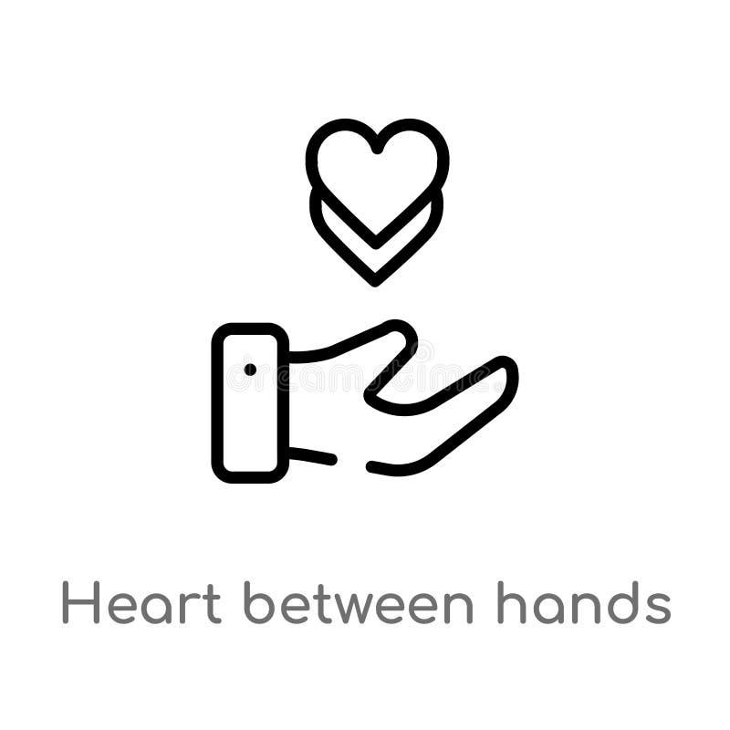 coeur d'ensemble entre l'ic?ne de vecteur de mains ligne simple noire d'isolement illustration d'?l?ment de notion g?n?rale Vecte illustration de vecteur