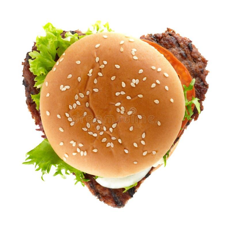 Coeur d'hamburger image libre de droits