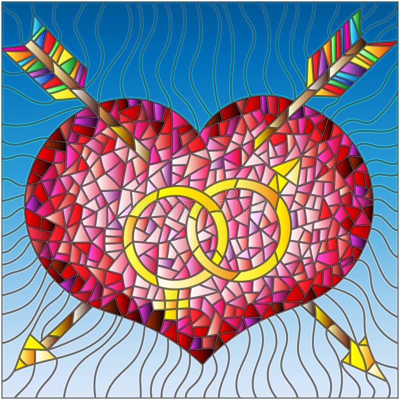 Coeur d'illustration en verre souillé, flèche et version masculine et femelle de couleur de signe illustration libre de droits