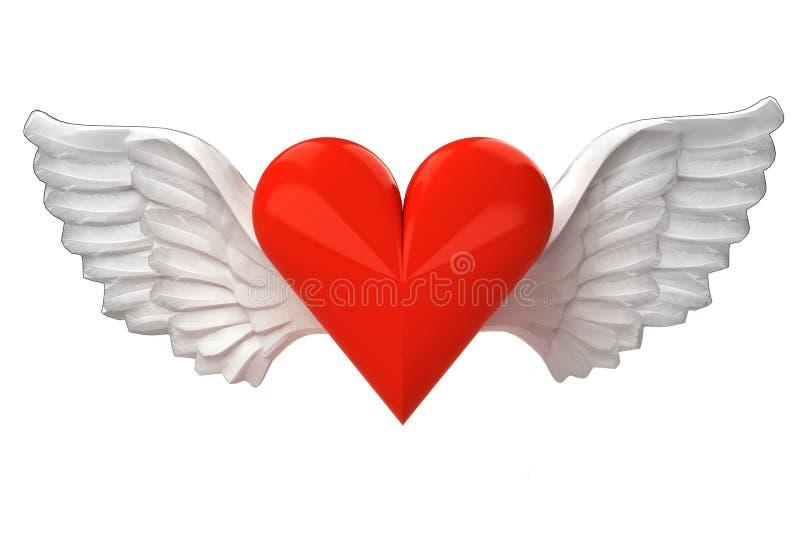 Coeur d'isolement d'amour avec le transport angélique d'ailes sur le blanc illustration libre de droits