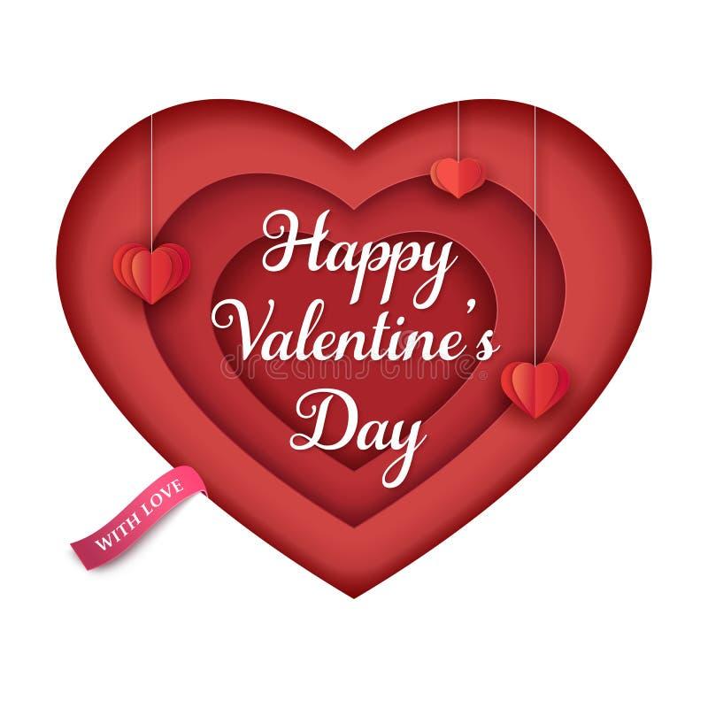 Coeur d'isolement de papier avec des coeurs rouges de papier accrochants et un ruban rose Coeur 3d multicouche Fond minimal de Sa illustration libre de droits