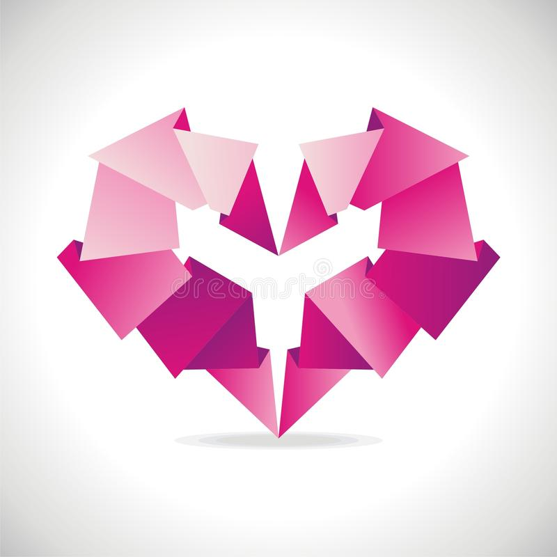 Coeur d'origami illustration stock