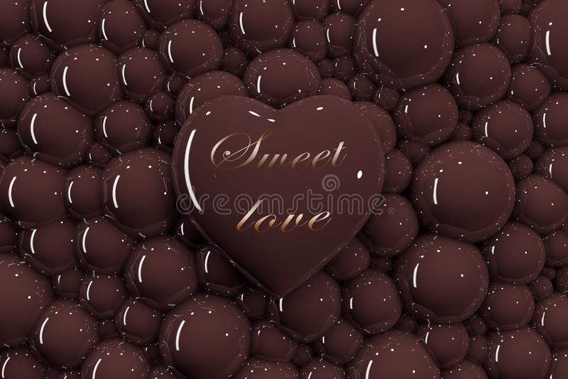 """coeur 3D sur le fond des bulles de chocolat avec l'inscription """"amour doux """" illustration stock"""