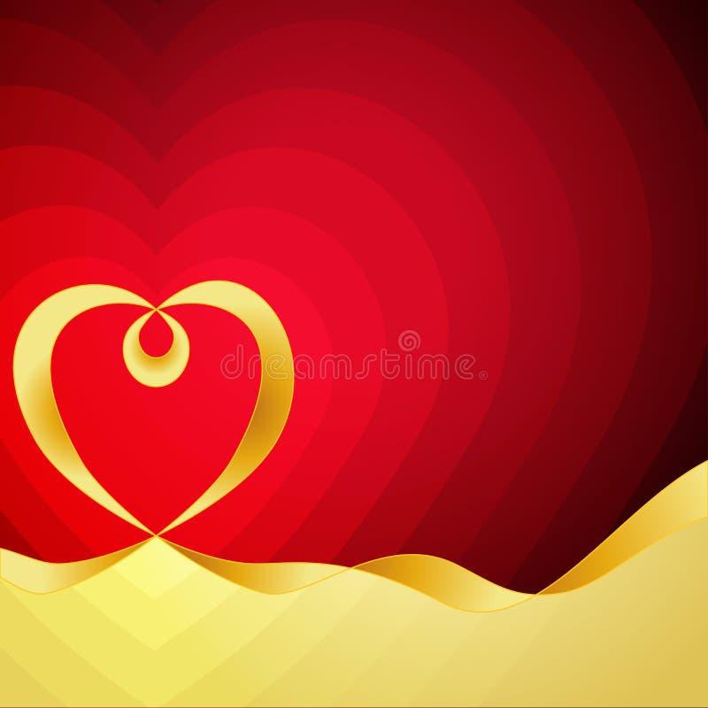 Coeur d'or sur un rouge Vecteur coloré abstrait illustration de vecteur