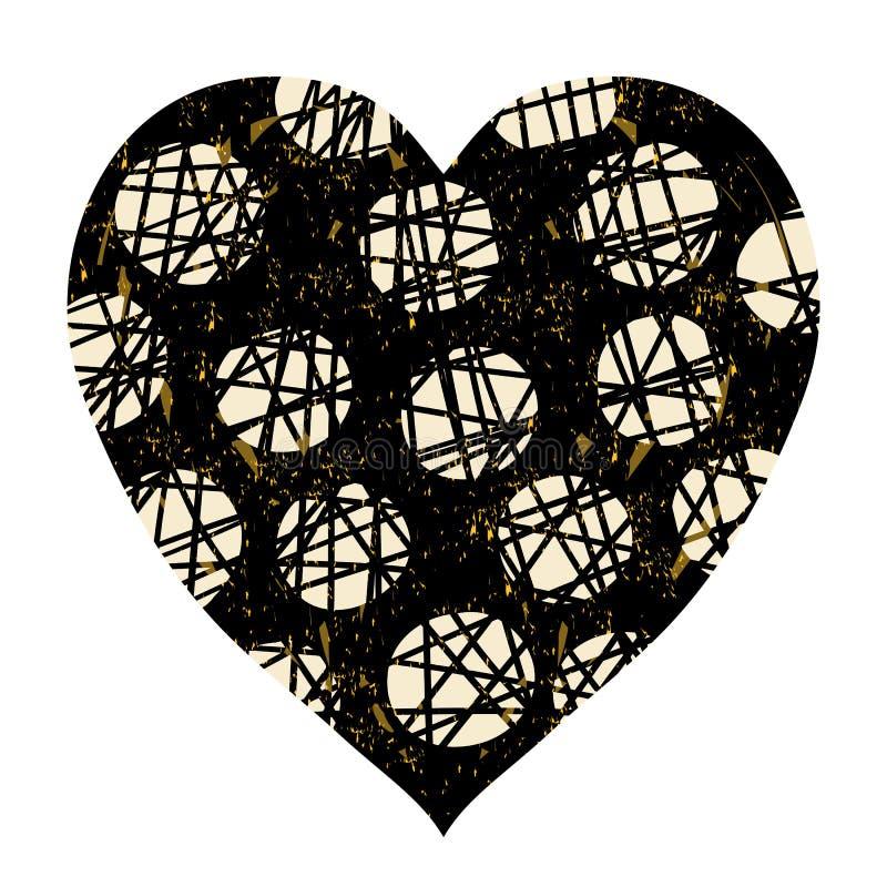 Coeur dans des couleurs de noir et d'or avec des points et des cribbles illustration libre de droits