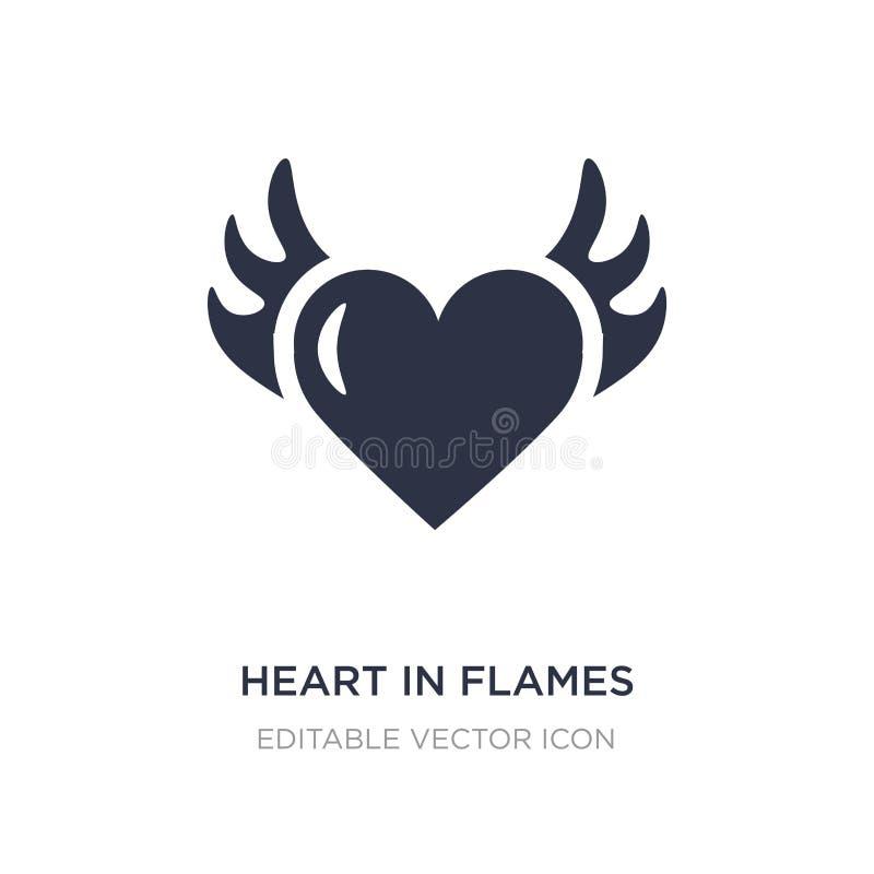 coeur dans l'icône de flammes sur le fond blanc Illustration simple d'élément de notion générale illustration stock