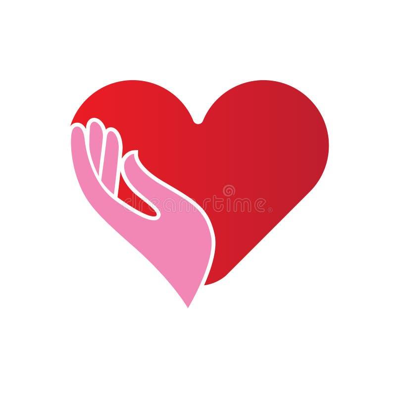 Coeur dans l'icône de mains illustration de vecteur