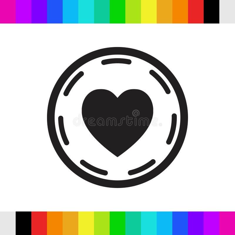 Coeur dans la conception plate d'illustration de vecteur d'actions d'icône de cercle photo libre de droits