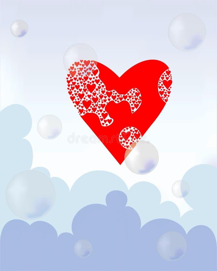 Coeur dans le ciel avec des nuages et des ballons illustration libre de droits