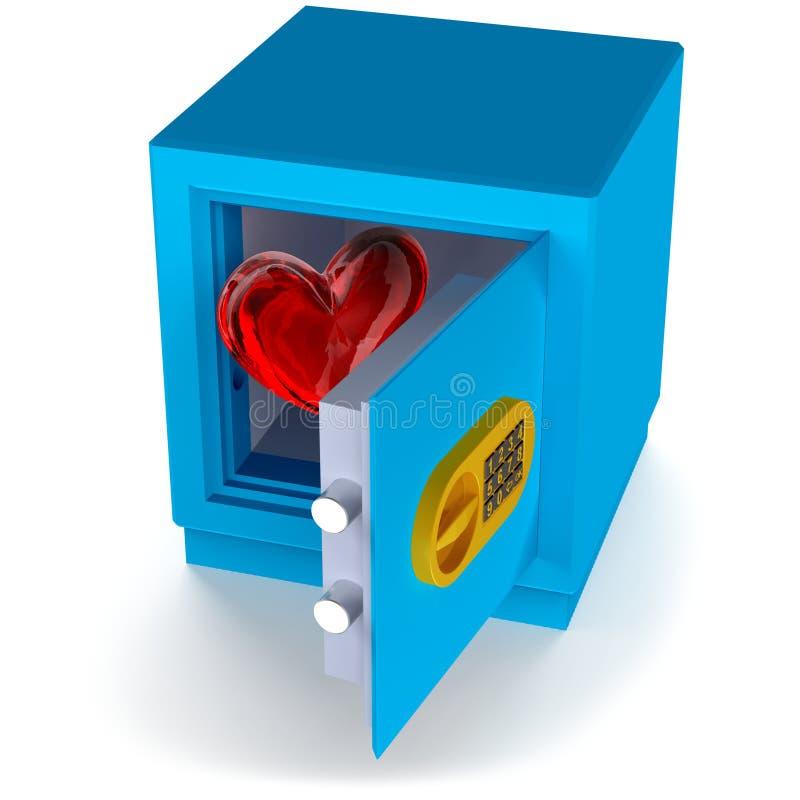 Coeur dans le coffre-fort illustration stock