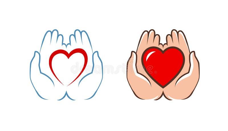 Coeur dans le logo de mains Charité, icône d'aide, label Illustration de vecteur illustration de vecteur