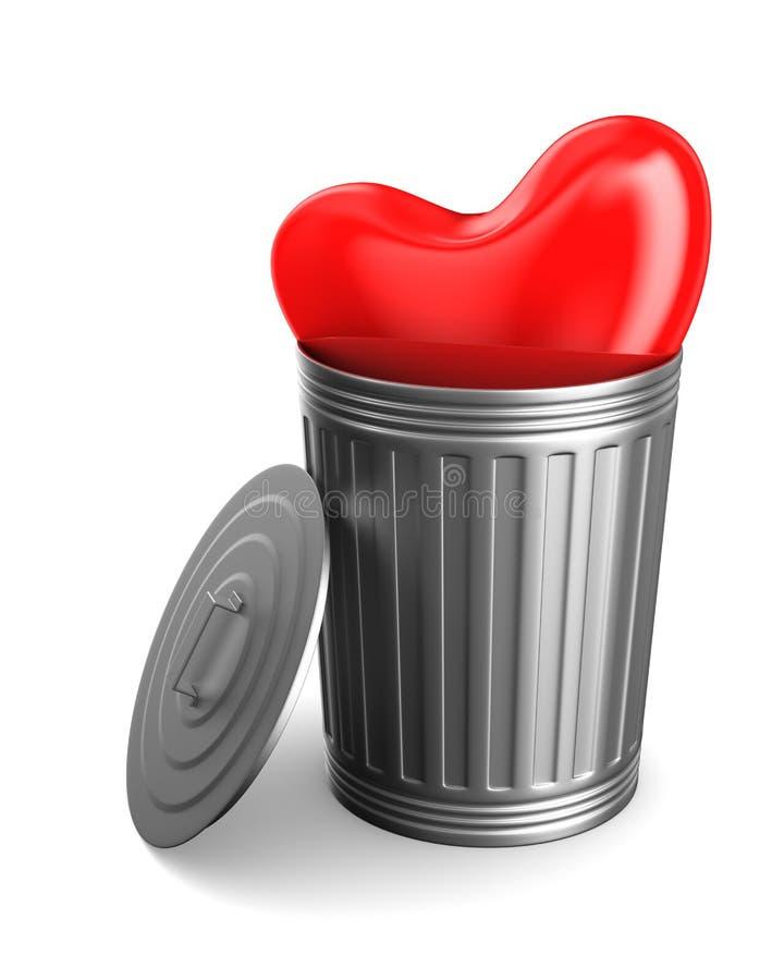 Coeur dans le panier de déchets sur le fond blanc Illus 3D d'isolement illustration stock